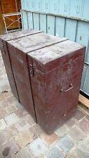 Objet du quotidien Vintage Coffre Malle de Transport Bois Poignées métal 1950