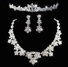 Glistening Rhinestone Crystal Tiara Necklace Earrings Wedding Bridal Jewelry Set