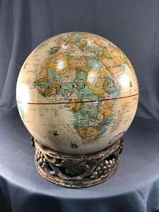 "12"" Replogle World Classic Globe on Antique Cast Iron Base w/ Grapes Flowers Art"