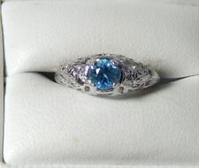 .75 Ct. Round Blue Cambodian Zircon Engraved Filigree Sterling Ring Free Sizing