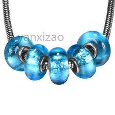 5 pcs silver murano glass european bead charm aqua blue shiny