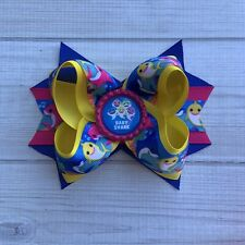 """5"""" Handmade Baby Sharks Stacked Boutique Hair Bow"""