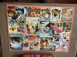 "White Mountain Vintage Flower Seeds 500 Pc Jigsaw Puzzle 18"" X 24"" GC"