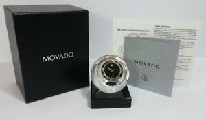 New In  Box Movado Museum Dial TCL000204MB Crystal Sphere Clock.