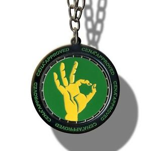 WWE John Cena Approved Spinner Pendant Necklace, Wrestling Green/Yellow Chain