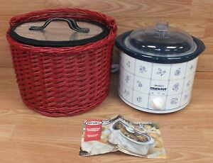 Rival (3120) Crockpot Stoneware Slow Cooker With Thermal Bag & Red Picnic Basket