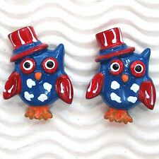 "10 pcs x 1.25"" Resin Hoot Hooray Patriotic Owl Flatbacks w/Sam Hat  SB602B"