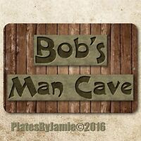 "Man Cave Bar Custom Personalized Wood Look Metal Aluminum 8""x12"" Wall Sign"