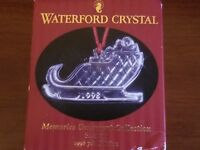 1998 Waterford Crystal Ornament - Memories Collection - Christmas Sleigh w Box