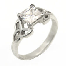 Celtic Trinity Knot Ring Sterling Silver 1.25ct Princess Cut Diamond-Unique
