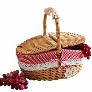 Hand Made Basket Wicker Camping Picnic Basket Storage Hamper and Handle Wooden