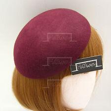 VINTAGE Wool Felt Women Beret Pillbox Hat Ladies DIY Plain Fascinator   Burgundy