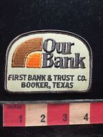 Vtg FIRST BANK & TRUST BOOKER TEXAS Jacket Patch 75X4