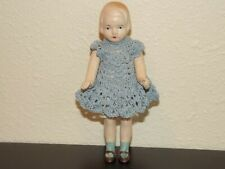 Japan Bisque Girl Doll With Blue Crocheted Costume 5 in.