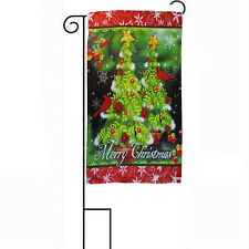 "12x18 12""x18"" Merry Christmas Tree Holidays Sleeved w/ Garden Stand Flag"