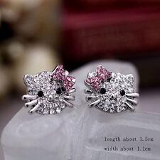 "Boucles d'oreilles ""Hello Kitty"" - White & Pink Strass -Envoi de France immédiat"