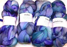 AZULES Blue 4oz Braid Malabrigo NUBE Soft Merino WOOL Painterly Cloud TOP Roving