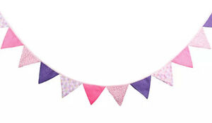 3M Lovely Floral Cotton Fabic Buntings 12 Flags Double Sided Party Banner
