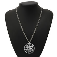 Large Abstract Metal Archangel Metatron Cube Pendant on Long Chain Necklace