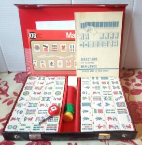 Vintage Mah Jong Game Set Case & Extras Excellent Condition Complete Jongg