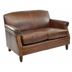 Ancient Mariner Vintage Two Seater Leather Sofa - Small Comfy Sofa - Brown