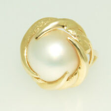 14KT Yellow Gold Mabe Pearl Ring 12.00 mm pearl Size 3.75mm