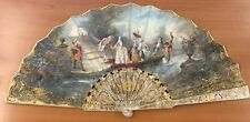 Beautiful A. Rodien 1870 Victorian Gold Leaf Mother Of Pearl Painted  Hand Fan