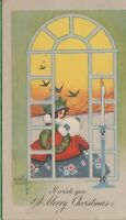 Vintage Antique Christmas Postcard Artist Signed Kathryn Elliot Girl In Window