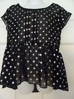 CHEROKEE GIRLS SIZE 6/6X SHEER BLACK/SILVER SPRING/SUMMER TOP-POLYESTER-NWOT