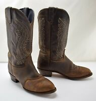 Durango Brown Distressed Leather Saddle Vamp Cowboy Boots - Western Boots 9M