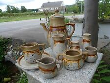 Lot of 10 Laurentian Tundra Pottery Canada Mid Century Lava Drip Brown Tea Pot