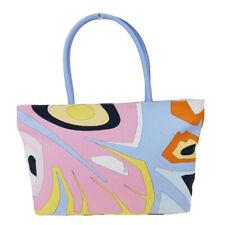 Auth EMILIO PUCCI Logos Tote Shoulder Bag Canvas Leather Multi-Color 03ET757
