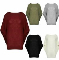Ladies Women's Ribbed Batwing Baggy Oversized Long Sleeve Knitted Dress Top