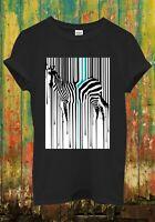Dripping Zebra Art Animal Barcode Funny Cool Men Women Top Unisex T Shirt 720