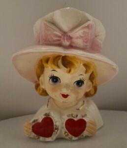 Vintage VELCO Figural Valentine Girl Big Eyes Planter Hearts Head VASE 1960's