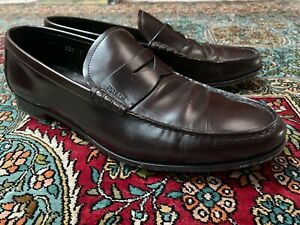 Prada Shoes Mens Brown Leather Shoes Loafers Size 9
