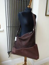 Designer  Malloni Brown Leather Large Bag Messenger Canvas Cross body  RRP £400