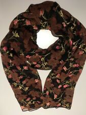 Burnout Mulberry Silk Scarf Stunning Iridescent Roses 🇦🇺 Crafted 53x178cm
