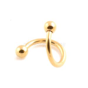 14g 16g Titanium Anodized Steel Spiral Eyebrow Twister Ear Tragus with Ball