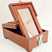 old  Vintage Box  Mirror Wooden Frame Vanity Travelling Barber Shaving Folding