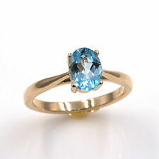 Natural Sky Blue Topaz 14KT Yellow Gold 7x5mm Oval Ring (Sizes 4-9)