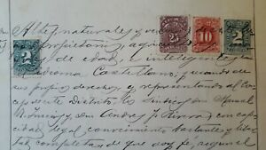 PERU revenue multiples mixed color on legal sealed document 1895 1896, scarce