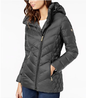 NEW NWT MICHAEL Michael Kors Asymmetrical Hooded Packable Puffer  Rock Gray PS