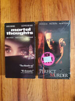 (Lot2) Mortal Thoughts A Perfect Murder VHS RARE ORIGINAL OOP! THRILLER MYSTERY