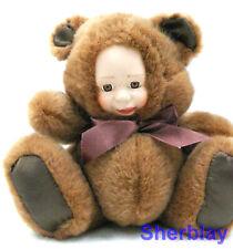 "Collectible Hug Me Collection Bear Porcelain Plush Doll 8"" Sitting"