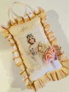 Shabby Chic Nursery Pink Floral Hanging Pillow Handmade Door Hanger Jeweled 12x8