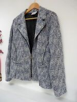 "Ladies Lovely Gina Laura Blue Mix Soft Light Zipped Jacket Size L,Pit 23"" Vgc"