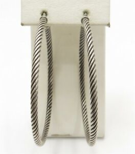 "David Yurman Sterling Silver ~3MM Wide Cable Style Hoop Earrings 2.25"""