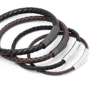 Leder geflochten Herren Damen Armband 17-24cm Edelstahl Verschluß Ø3,4,5,6,8mm