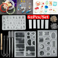 62Pcs Resin Casting Molds Kit Silicone Mold Jewelry Pendant Mould Craft DIY